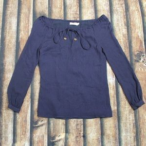 Tory Burch Navy Blue Off The Shoulder Silk Blouse